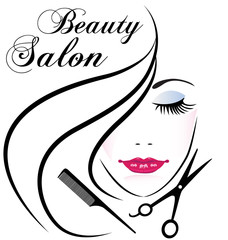 Face of pretty woman silhouette logo.Cosmetic beauty salon company logo