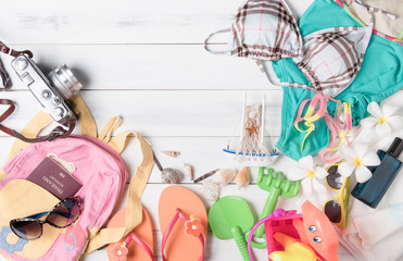 prepare accessories and travel items for kid