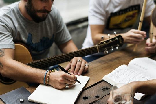 Men Play Guitar Write Song Music Reheaesal