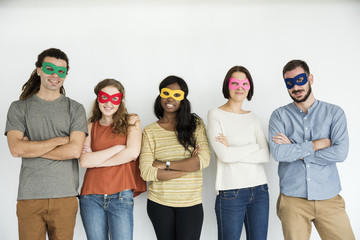 Diverse group of people wearing masks portrait