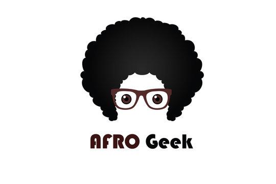 Afro Geek Logo Design Template Flat Style Vector