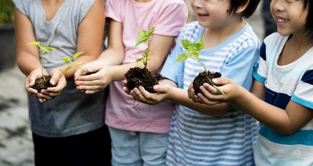 Group of kindergarten kids friends gardening agriculture