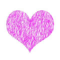 Abstract bright pink heart on white background
