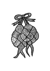 Ketupat  Indonesian fraditional Food. Zentangle style