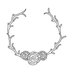 wreath with roses decorative icon vector illustration design