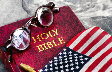 American Flag and Bible.