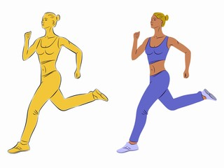 illustration of a running woman, vector draw