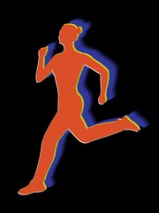 silhouette of a running woman, vector draw