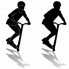 silhouette of a boy on a scooter, vector draw