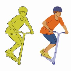 illustration of a boy on a scooter, vector draw
