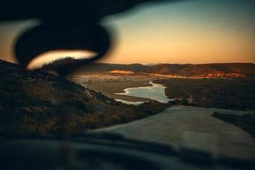 Landscape in the sundown on a roadtrip