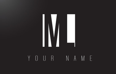 ML Letter Logo With Black and White Negative Space Design.