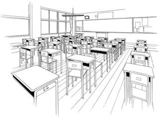 漫画風ペン画イラスト 教室