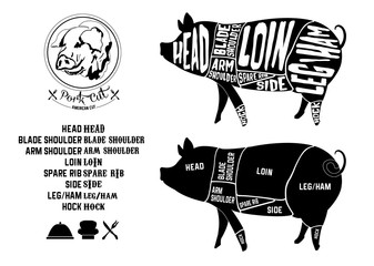pork cuts, American cut icon in Vintage Style Vector illustration