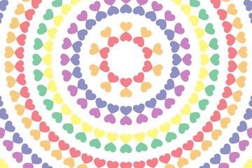 背景素材壁紙,ハートマーク,模様,柄,パターン形,恋愛,チャンス,天国,虹色,レインボー,カラフル,