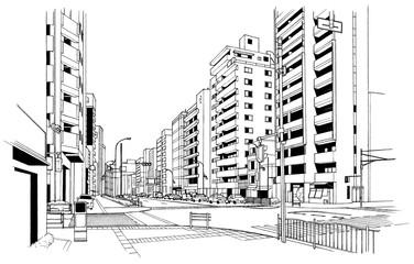 漫画風ペン画イラスト 街並