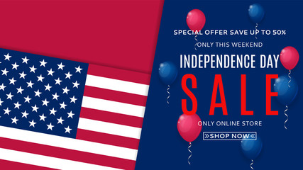 Independence Day sale web banner. American Independence Day celebration backdrop. Color background with air balloons. Vector illustration with USA flag.