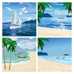 Boats on the beach. Vector image.