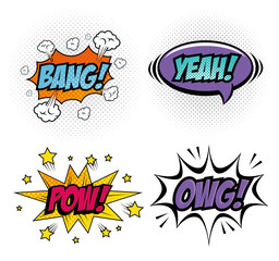Set of comic like pop art signs over white background vector illustration