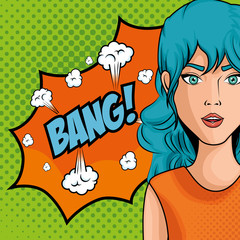 blue haired woman comic like pop art icon with bang sign over green dotted background vector illustration