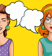 Women comic like pop art icon with speech balloons over yellow background vector illustration