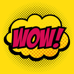 Comic like wow pop art sign over yellow background vector illustration