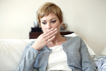 Woman feeling nauseous