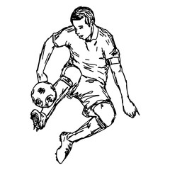 soocer player kicking ball - vector illustration sketch hand drawn with black lines, isolated on white background