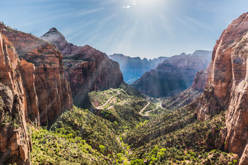 Sun Rays Pierce Canyon Panorama in Zion National Park