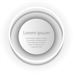 Simple white paper 3D circle in circle ring for website presentation cover poster vector design info graphic illustration concept
