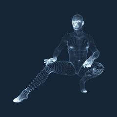 3D Model of Man. Human Body. Design Element. Vector Illustration.