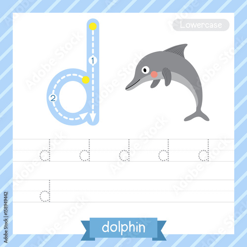Letter D lowercase tracing practice worksheet with dolphin for kids learning to write. Vector Illustration.