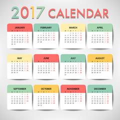 Pastel color Calendar for 2017 template design. Week Starts Monday