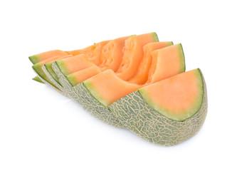 sliced melon on white background