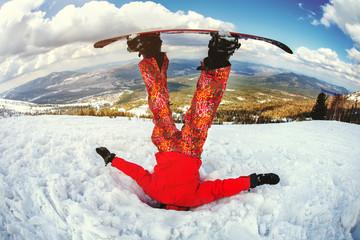 The snowboarder got stuck in the snowdrift.