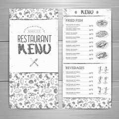 Hand drawing restaurant menu design