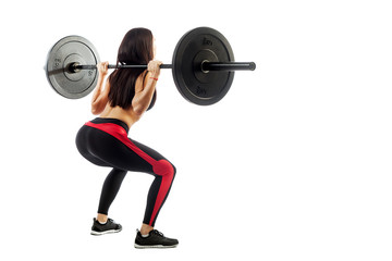 Young sportive woman fitness model brunette makes a squat with a barbell on white isolated background, Semi-squat position