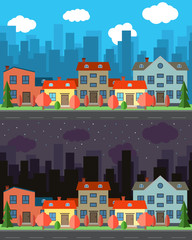 Vector city with five one and two-story cartoon houses in the day and night. Summer urban landscape. Street view with cityscape on a background