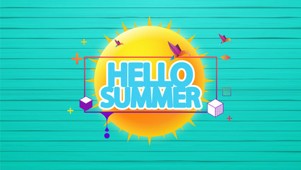 Hello Summer Vector Background, Label on Colorful Wooden Floor.