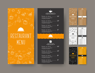 set of coffee narrow menu for a cafe or restaurant. A flyer template with hand drawings and a wavy strip. Vector illustration