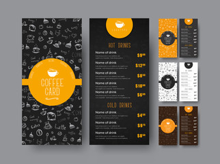 Template of the coffee menu for a cafe or restaurant.