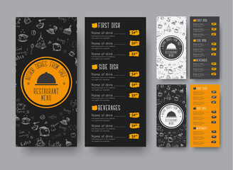 narrow menu template for a cafe or restaurant.
