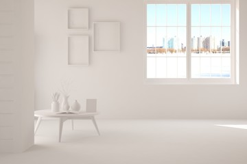 White room with table. Scandinavian interior design. 3D illustration