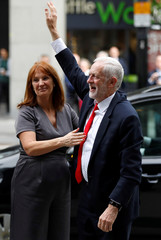 Jeremy Corbyn, leader of Britain's Labour Party, arrives at the party headquarters, in London