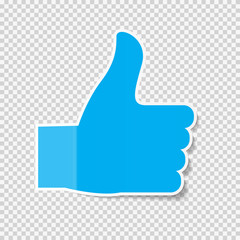 Sticky Paper Thumbs Up Sign Note on Transparent Background  Vector Illustration