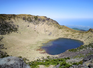Crater lake on top of the Volcano Halasan, Jeju Island, South Korea