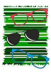 occhiali da vista e da sole moderni fondo verde