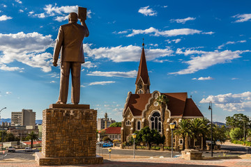 First Namibian President monument and Luteran Christ Church in the center of Windhoek, Namibia