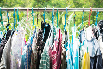 Dry clothes hanging on clothesline