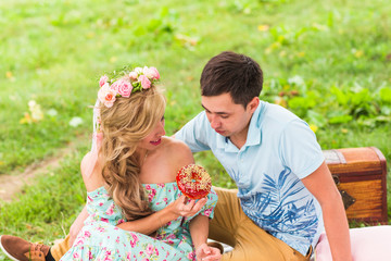 Happy Couple Having Romantic Picnic